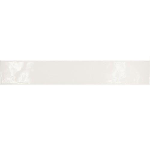 Carrelage uni brillant blanc 6.5x40cm COUNTRY BLANCO LONG 13250   - Echantillon - zoom