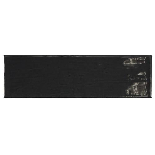 Carrelage uni brillant noir anthracite 6.5x20cm COUNTRY ANTHRACITE 21535 0.  - Echantillon - zoom