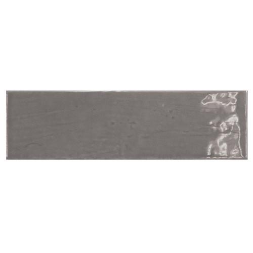 Carrelage uni brillant gris graphite 6.5x20cm COUNTRY GRAPHITE 0.  - Echantillon - zoom