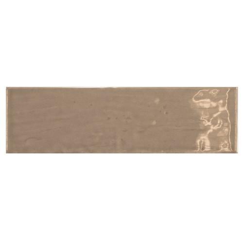 Carrelage uni brillant taupe 6.5x20cm COUNTRY TOBACCO 0.  - Echantillon Equipe