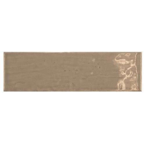 Carrelage uni brillant taupe 6.5x20cm COUNTRY TOBACCO 0.  - Echantillon - zoom