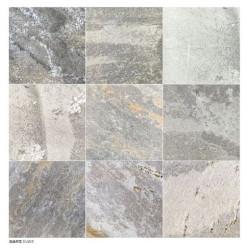 Carrelage piscine effet pierre naturelle grès cérame QUARTZ SILVER 15.25x15.25 cm -   - Echantillon Coem ceramiche