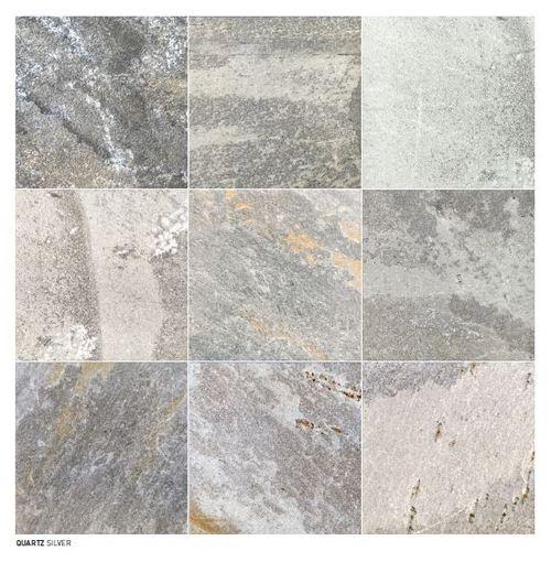 Carrelage piscine effet pierre naturelle grès cérame QUARTZ SILVER 15.25x15.25 cm -   - Echantillon - zoom
