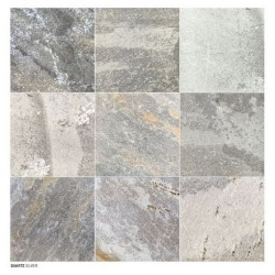 Carrelage piscine effet pierre naturelle QUARTZ SILVER 45.8x45.8 cm -    - Echantillon Coem ceramiche