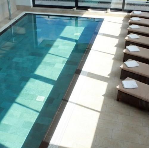 Carrelage piscine effet pierre naturelle QUARTZ GOLD 30.5x61.4.5 cm - 1 - Echantillon - zoom