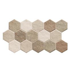Carrelage tomette effet pierre 26.5x51 cm STONEHENGE HEX EARTH -   - Echantillon Realonda