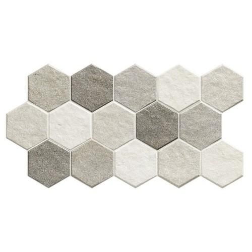 Carrelage tomette effet pierre 26.5x51 cm STONEHENGE HEX FROST -   - Echantillon - zoom
