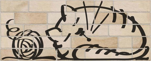Parement mural briquettes original motif chat Marlon Nuney Beige Arena 20x50cm -   - Echantillon - zoom