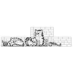 Parement mural briquettes original motif chat Marlon Nuney Beige Arena 20x50cm -   - Echantillon Vives Azulejos y Gres