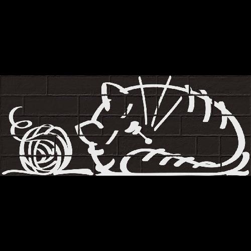 Parement mural briquettes original motif chat Marlon Nuney Noir 20x50cm -   - Echantillon - zoom