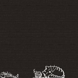 Parement mural briquettes original motif chat Marlon Nuney Noir 20x50cm -   - Echantillon Vives Azulejos y Gres