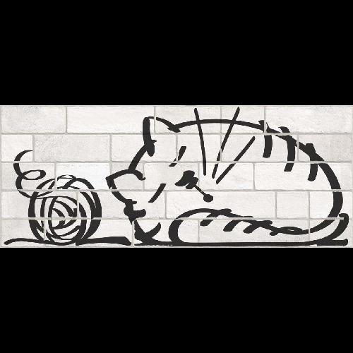 Parement mural briquettes original motif chat Marlon Nuney 20x50cm -   - Echantillon - zoom