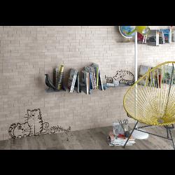 Parement mural briquettes original motif chat Marlon Nuney 20x50cm -   - Echantillon Vives Azulejos y Gres