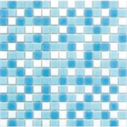 Mosaique piscine Mix Blanc Bleu Swimming 32.7x32.7 cm -   - Echantillon Ston