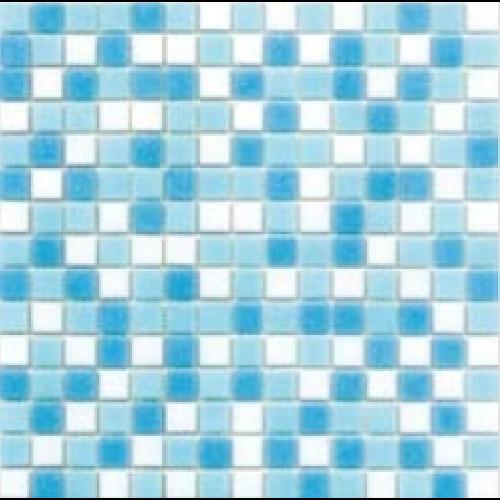 Mosaique piscine Mix Blanc Bleu Swimming 32.7x32.7 cm -   - Echantillon - zoom