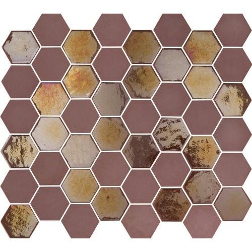Mosaique mini tomette hexagonale rouge bordeaux 25x13mm SIXTIES BURGUNDY -   - Echantillon Togama