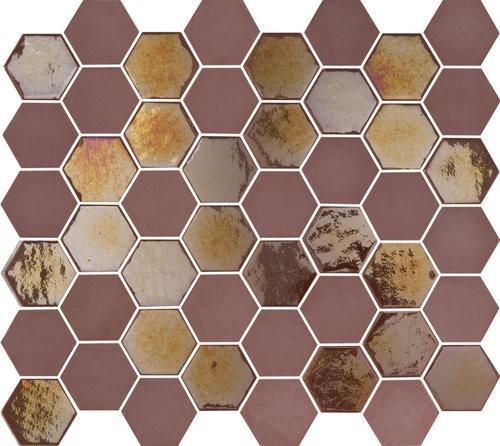 Mosaique mini tomette hexagonale rouge bordeaux 25x13mm SIXTIES BURGUNDY -   - Echantillon - zoom
