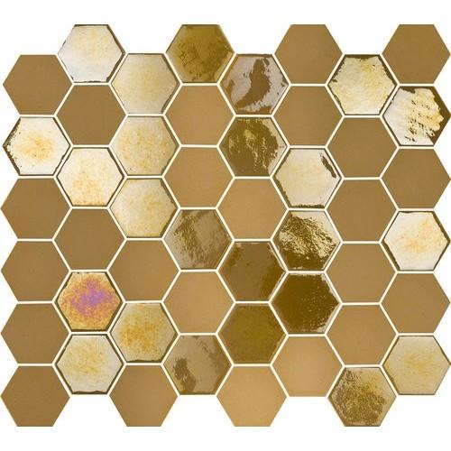 Mosaique mini tomette hexagonale dorée 25x13mm SIXTIES MUSTARD -   - Echantillon Togama