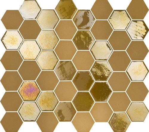 Mosaique mini tomette hexagonale dorée 25x13mm SIXTIES MUSTARD -   - Echantillon - zoom