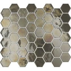 Mosaique mini tomette hexagonale marron gris 25x13mm SIXTIES PEARL TAUPE -   - Echantillon Togama