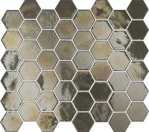 Mosaique mini tomette hexagonale marron gris 25x13mm SIXTIES PEARL TAUPE -   - Echantillon - zoom