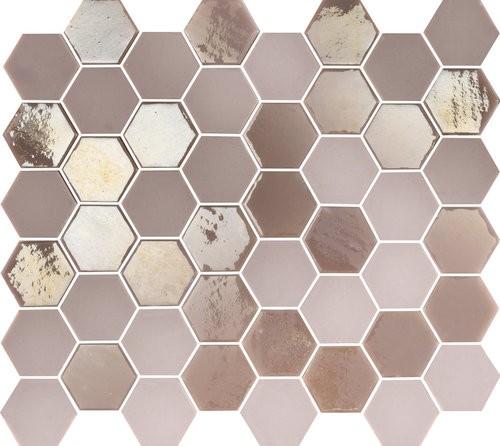 Mosaique mini tomette hexagonale rose 25x13mm SIXTIES PINK -   - Echantillon - zoom