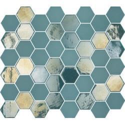 Mosaique mini tomette hexagonale bleu vert 25x13mm SIXTIES TURQUOISE -   - Echantillon Togama