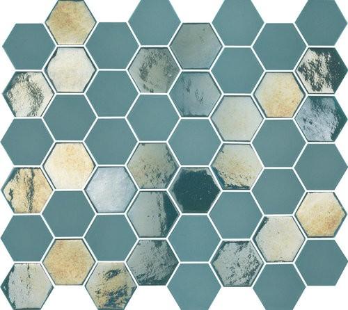 Mosaique mini tomette hexagonale bleu vert 25x13mm SIXTIES TURQUOISE -   - Echantillon - zoom