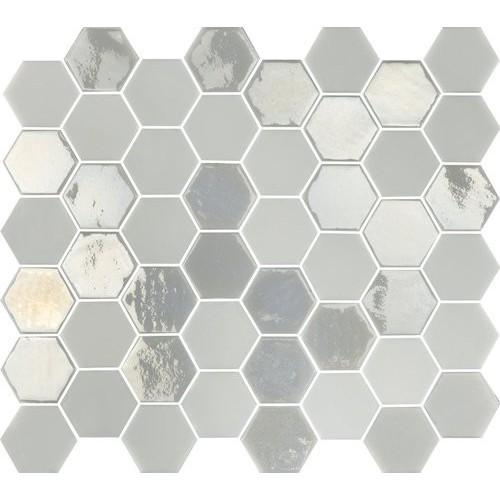 Mosaique mini tomette hexagonale blanc ivoire nacré 25x13mm SIXTIES WHITE-   - Echantillon Togama