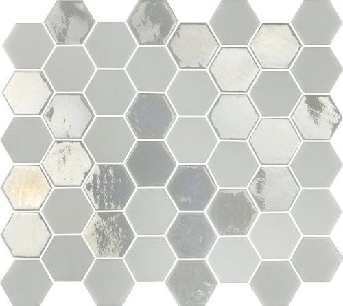 Mosaique mini tomette hexagonale blanc ivoire nacré 25x13mm SIXTIES WHITE-   - Echantillon - zoom