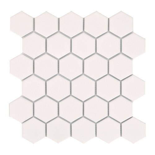 Mini tomette hexagonale blanche mat en grès cérame 27x  cm HEXAGONO BLANCO - unité - Echantillon - zoom