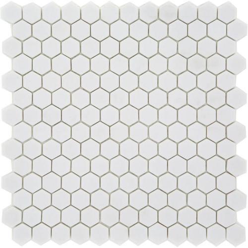 Mosaique Mini tomette hexagonale PURE23 25x13mm blanc mat -    - Echantillon - zoom