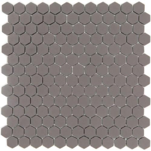 Mosaique Mini tomette hexagonale SADDLE23 25x13mm taupe mat -    - Echantillon - zoom