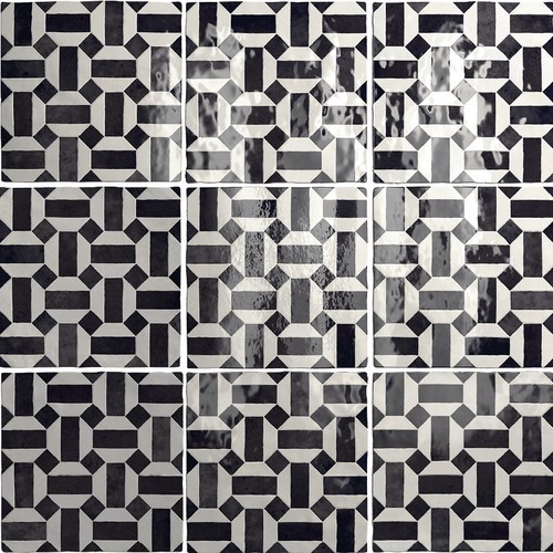 Carrelage effet zellige 13.2x13.2 ARTISAN LUNAS NOIR ET BLANC 24514 -   - Echantillon Equipe