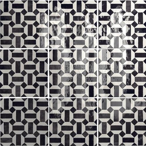 Carrelage effet zellige 13.2x13.2 ARTISAN LUNAS NOIR ET BLANC 24514 -   - Echantillon - zoom