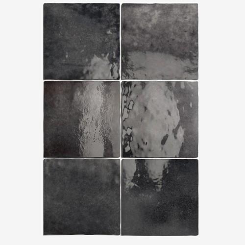 Carrelage effet zellige 13.2x13.2 ARTISAN NOIR GRAPHITE 24462 -   - Echantillon - zoom