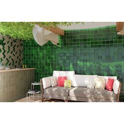 Carrelage effet zellige vert 15x15 CHIC Verde -   - Echantillon El Barco