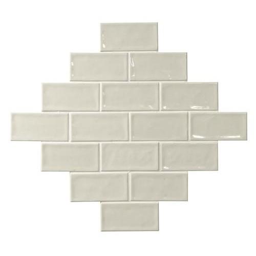Carrelage effet zellige blanc ivoire 7.5x15 GLAMOUR NEUTRO -    - Echantillon El Barco
