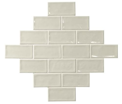 Carrelage effet zellige blanc ivoire 7.5x15 GLAMOUR NEUTRO -    - Echantillon - zoom