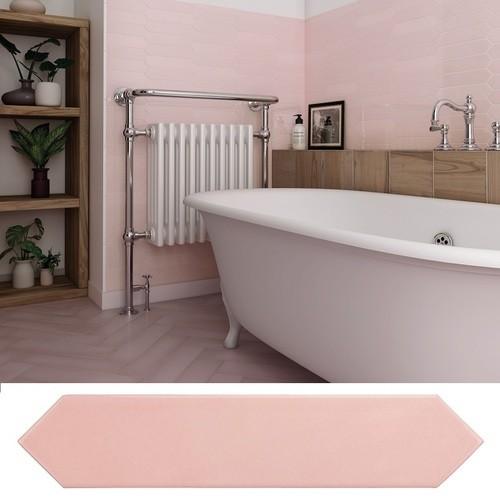 Faience navette crayon rose brillant 5x25 cm ARROW BLUSH PINK 25823 -   - Echantillon - zoom