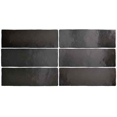 Faience dénuancée noir 6.5x20 cm MAGMA BLACK COAL 24962 - 0.  - Echantillon Equipe