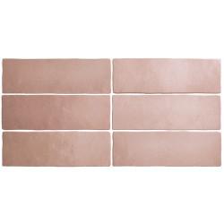 Faience dénuancée rose corail 6.5x20 cm MAGMA CORAL PINK 24961 - 0.  - Echantillon Equipe