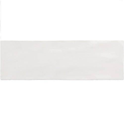 Faience nuancée effet zellige blanche 6.5x20 RIVIERA WHITE 25837 -  - Echantillon - zoom