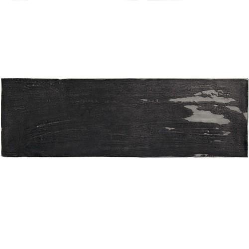 Faience nuancée effet zellige noir 6.5x20 RIVIERA TOURMALINE 25849-  - Echantillon - zoom