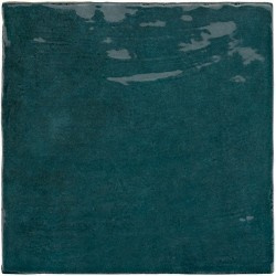 Faience nuancée effet zellige bleu canard 13.2x13.2 RIVIERA QUETZAL 25859-   - Echantillon Equipe