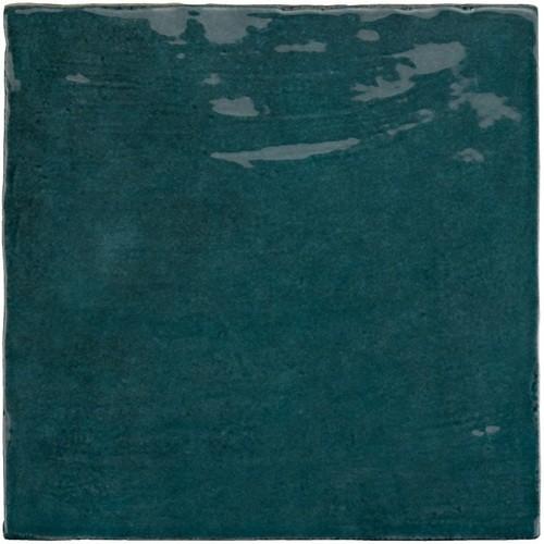 Faience nuancée effet zellige bleu canard 13.2x13.2 RIVIERA QUETZAL 25859-   - Echantillon - zoom