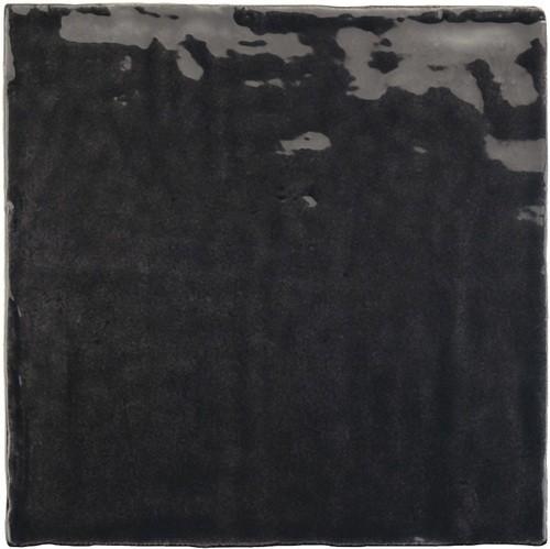 Faience nuancée effet zellige noir 13.2x13.2 RIVIERA TOURMALINE 25862-   - Echantillon - zoom