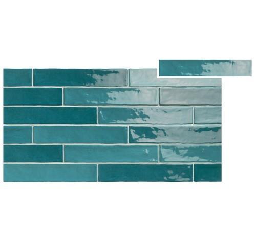 Chevron effet zellige turquoise nuancé 5x25 cm PIASTRELLA TURQUESE MIX -   - Echantillon - zoom