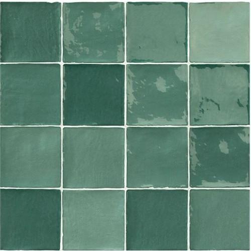 Carrelage effet zellige vert 10x10cm STOW MIX OLIVE -   - Echantillon Natucer