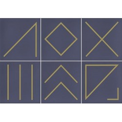 Faïence géométrique bleu marine/doré 23x33.5 cm NAGANO INDIGO-   - Echantillon Vives Azulejos y Gres